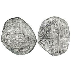 Potosi, Bolivia, cob 4 reales, Philip III, assayer T, quadrants of cross transposed, Grade 3.