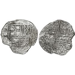 Potosi, Bolivia, cob 4 reales, Philip III, assayer not visible, Grade 1.