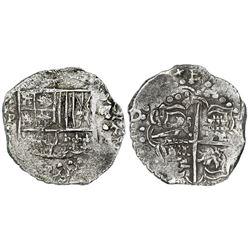 Potosi, Bolivia, cob 4 reales, Philip III, assayer not visible, quadrants of cross transposed, no Gr
