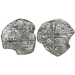 Potosi, Bolivia, cob 4 reales, Philip III, assayer not visible, no Grade on certificate.