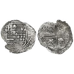 Potosi, Bolivia, cob 4 reales, Philip III, assayer not visible, Grade 2 (certificate missing), ex-He