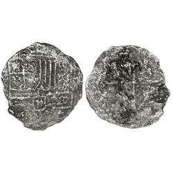 Potosi, Bolivia, cob 4 reales, Philip III, assayer not visible, Grade 3.
