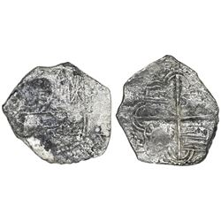 Potosi, Bolivia, cob 4 reales, Philip III, assayer not visible, no Grade on certificate (probably Gr