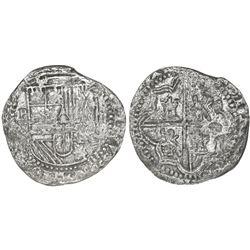 Potosi, Bolivia, cob 2 reales, Philip II, assayer B (3rd period), no Grade on certificate, ex-Atocha
