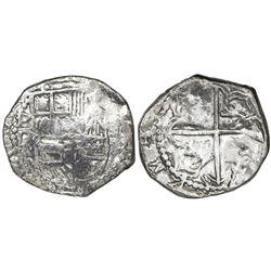 Potosi, Bolivia, cob 2 reales, Philip III, assayer R (curved leg), Grade 1.