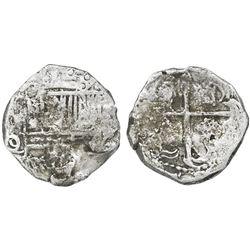 Potosi, Bolivia, cob 2 reales, Philip III, assayer Q/C, Grade 2.