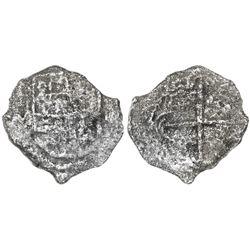 Potosi, Bolivia, cob 2 reales, Philip III, assayer M, Grade 3.