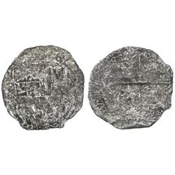 Potosi, Bolivia, cob 2 reales, Philip III, assayer not visible, Grade 4.