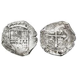 Mexico City, Mexico, cob 8 reales, (1)614(F), reverse legend starting at 3 o'clock, very rare.
