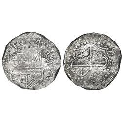 Potosi, Bolivia, cob 8 reales, (1)618, assayer not visible, quadrants of cross transposed, Grade 1,