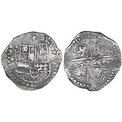 Potosi, Bolivia, cob 8 reales, (1)622P, quadrants of cross transposed, rare.