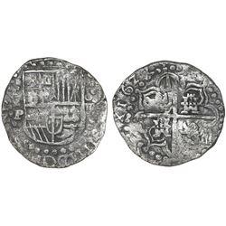 Potosi, Bolivia, cob 8 reales, 1622P, quadrants of cross transposed, rare.