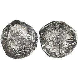 Potosi, Bolivia, cob 8 reales, 1636, assayer not visible.