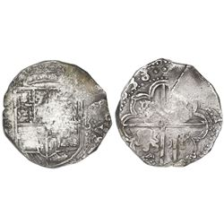 Potosi, Bolivia, cob 8 reales, (1)638, assayer not visible.