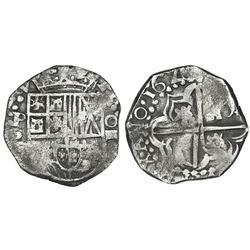 Potosi, Bolivia, cob 4 reales, 1626P, quadrants of cross transposed, extremely rare.