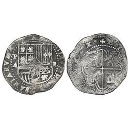 Potosi, Bolivia, cob 2 reales, Philip II, assayer A.