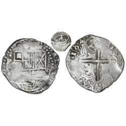 Potosi, Bolivia, cob 8 reales, 1649(O), with crowned-L countermark on cross.