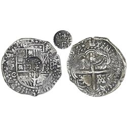 Potosi, Bolivia, cob 8 reales, (16)50O, with crowned-F countermark (four dots) on shield.