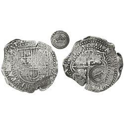 Potosi, Bolivia, cob 8 reales, (16)50O, with crown-alone countermark (rare variety) on cross.