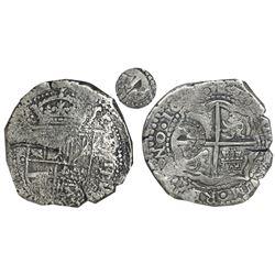 Potosi, Bolivia, cob 8 reales, 16(50)O, with crowned-dot-alone countermark on cross (very rare), NGC