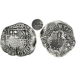 Potosi, Bolivia, cob 8 reales, 165(0)O, with crown-alone countermark (rare variety) on cross.