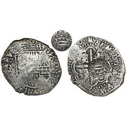 Potosi, Bolivia, cob 8 reales, (16)50O, with crown-alone countermark (very rare variety) on cross.