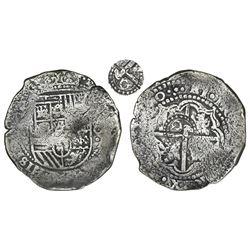 Potosi, Bolivia, cob 8 reales, (16)50O, with crowned-dot-G-dot countermark on cross (rare).