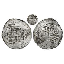 Potosi, Bolivia, cob 8 reales, (1650)O, with crowned-L countermark on shield (rare).