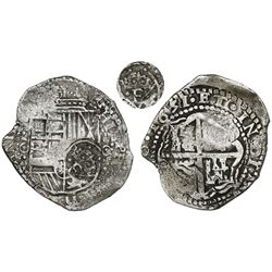 Potosi, Bolivia, cob 8 reales, 1651O, with crowned-F (four dots) countermark on shield.
