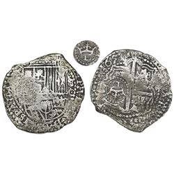 Potosi, Bolivia, cob 8 reales, 1651O, with crowned-L countermark on cross.