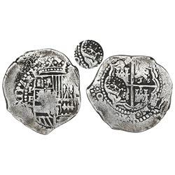 Potosi, Bolivia, cob 8 reales, 165(1)E with five-dot ornaments, crown-alone(?) countermark on cross.