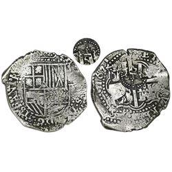 Potosi, Bolivia, cob 8 reales, 1651E, with crown-alone(?) countermark on cross.