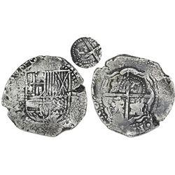 Potosi, Bolivia, cob 8 reales, (1651-2)E, with crown-alone countermark (rare variety) on cross.