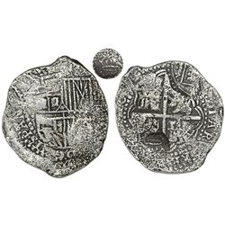Potosi, Bolivia, cob 8 reales, (1650-52), assayer not visible (O or E), with two countermarks on cro