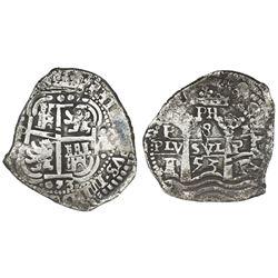 Potosi, Bolivia, cob 8 reales, 1653E, PH at top without dots (rare).
