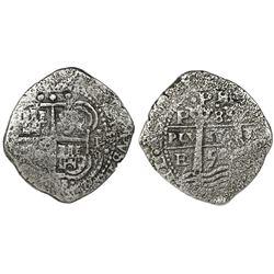 Potosi, Bolivia, cob 8 reales, 1653E, dot-PH-dot at top.