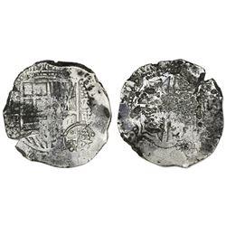 Potosi, Bolivia, cob 8 reales, (1)6(5)1E, with crowned-dot-F-dot countermark on shield.