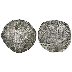 Potosi, Bolivia, cob 8 reales, 1654E, dot-PH-dot at top, denomination 8 above cross.