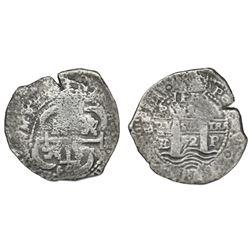 Potosi, Bolivia, cob 8 reales, 1652E, post-transitional (Type VIII/B), 1-PH-6 at top.