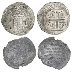 Lot of two coins: Porto, Portugal, 200 reis, Joao IV (1640-56); and Brazil (Bahia mint), 320 reis, 1