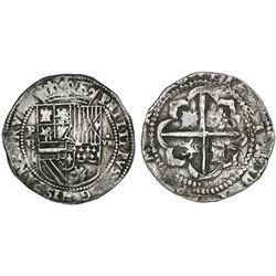 "Potosi, Bolivia, cob 8 reales, Philip II, assayer B (2nd period, ""Great Module""), very rare provenan"
