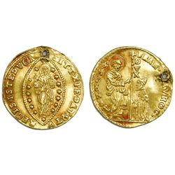 Venice (Italian States), gold zecchino, Francesco Morosini (1688-94), with original hole.
