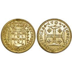 Portugal (Lisbon mint), gold 4000 reis, Pedro II, 1704.