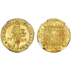 Holland, United Netherlands, gold ducat, 1729, NGC MS 65.