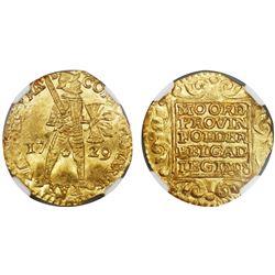 Utrecht, United Netherlands, gold ducat, 1729, NGC MS 64.