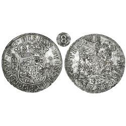 Mexico City, Mexico, pillar 8 reales, Philip V, 1738/6MF, very rare overdate.