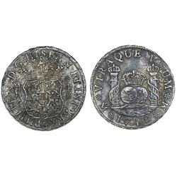 Mexico City, Mexico, pillar 4 reales, Philip V, 1742MF, with pillar neck-moulds.