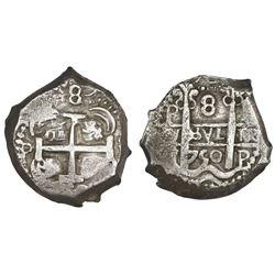 Potosi, Bolivia, cob 8 reales, 1750, assayer not visible.