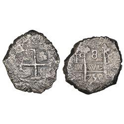 Potosi, Bolivia, cob 8 reales, 1750q, NGC VF details / La Luz.