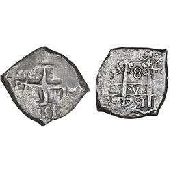Potosi, Bolivia, cob 8 reales, 1751q/E, NGC VF details / La Luz.